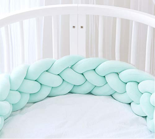 Icegrey Trenza Protector de Cuna 4 Trenzada Bebe Parachoques Cuna Protector de Cabeza para Proteger Bebe y Decorar la Cuna con Bolsa de Lavandería, Menta verde, 3m