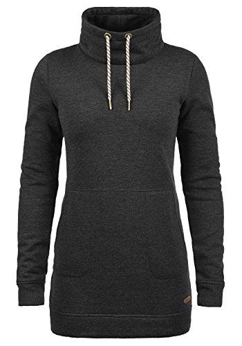 DESIRES Vilma Damen Langes Sweatshirt Pullover Longpullover Mit Stehkragen, Größe:M, Farbe:Dark Grey Melange (8288)