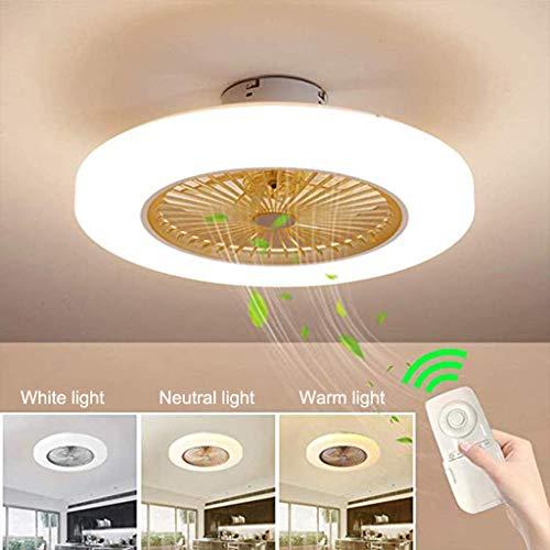 Neue Deckenleuchte Fan Deckenventilator moderne kreative Fan deckenventilator LED Dimmbar mit beleuchtung und fernbedienung Kinderzimmer Schlafzimmer Wohnzimmer beleuchtung 58cm (Yellow)