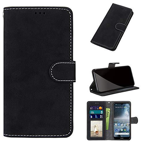 JARNING Prämie Hülle für Sony Xperia Z3 Plus/Z3+/Z4 E6553,Mattiert Leder Etui Schutzhülle Ständer Funktion und Magnetverschluss Handyhülle Wallet Case (Schwarz)