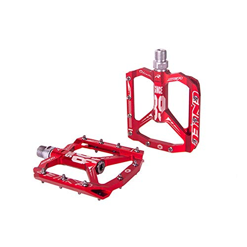 Ultralight Bicycle Pedal all CNC MTB DH XC Mountain Bike Pedal L7U Material +DU Bearing Aluminum Pedals,Red