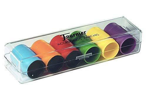 Tiendas LPG Fournier- Accesorios Parchis en Caja de plástico, 6 Jugadores, Multicolor