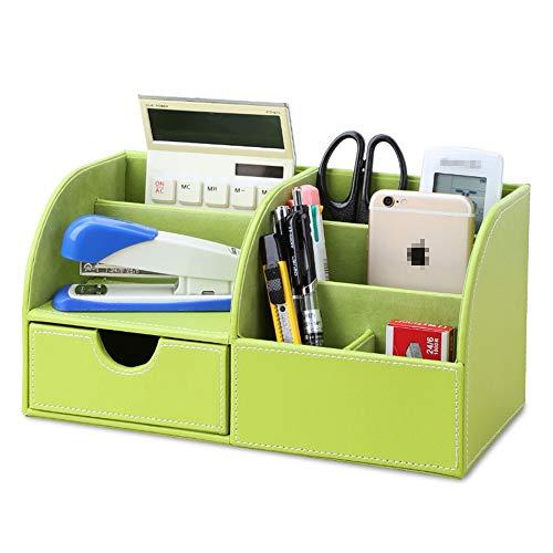 Office Desk Organizer Tarjeta de visita de la caja Colección lápiz de la pluma del teléfono móvil de la PU de oficina de cuero Organizador de escritorio almacenaje de los efectos de escritorio Rack de