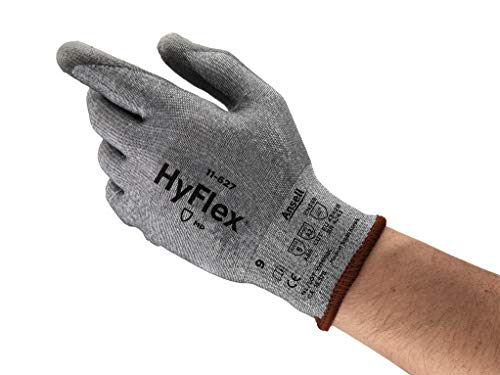 Ansell HyFlex 11-627 Lycra Light Duty Safety Glove with DSM Dyneema Technology, Abrasion/Cut Resistant, Size 9, Gray (Pack of 12 Pair)
