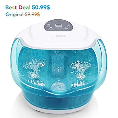 Foot Spa/Bath with Bubble and Heat for Relaxation and Rejuvenation, Pedicure with Vibrating Feature and Roller Massager by MaxKare