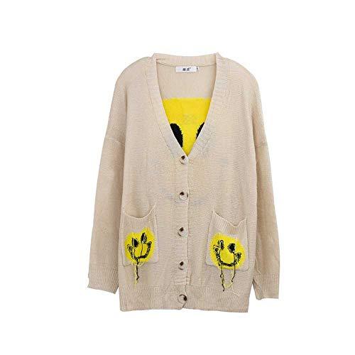YANGPANGZI Blusa de Mujer de Talla Grande a principios de otoño Fertilizante para Aumentar la Moda Cardigan con Borla Sonriente