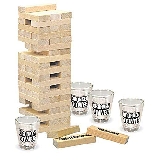 Mmyunx Tipsy Tower Drinking Game Set 4 Shot Gläser und 60 Wooden Pieces A Tower of Fun! Das ultimative Adult-Party-Spiel