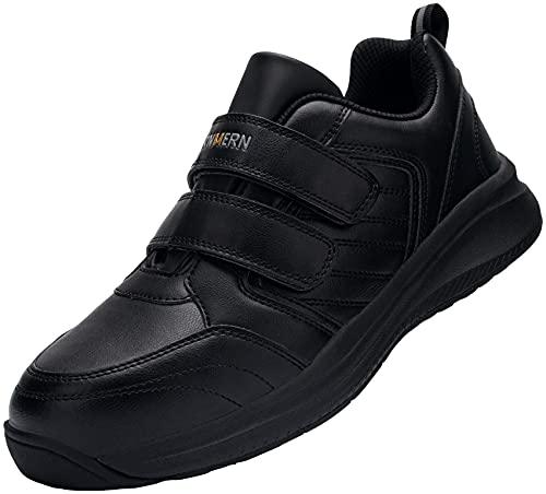 LARNMERN Zapatos de seguridad impermeables para hombre y mujer, con puntera de acero SRC, antideslizantes, transpirables, pies anchos, ligeros, color negro, color Negro, talla 41 EU