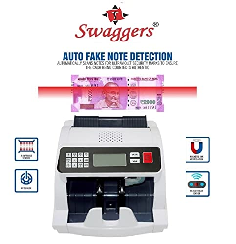 swaggers Latest Updated Money/Note/Cash/Currency counting machine for All New and Old Notes 10,20,50,100,200,500,2000 with fake note detection and heavy duty mechanism best suitable for banks,post offices,corporate offices,retails outlets,showrooms etc