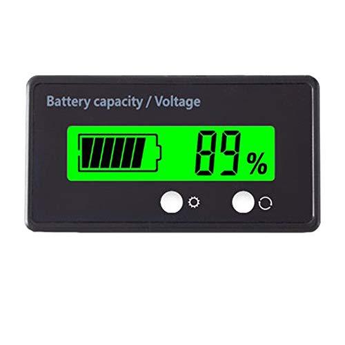 12V 24V 36V 48V Battery Capacity Indicator Golf Cart Voltage Meter with LCD Display Green Backlight, Waterproof Monitor Gauge Digital Voltmeter Testers for 2S-15S Lithium Battery&Lead-Acid Batteries