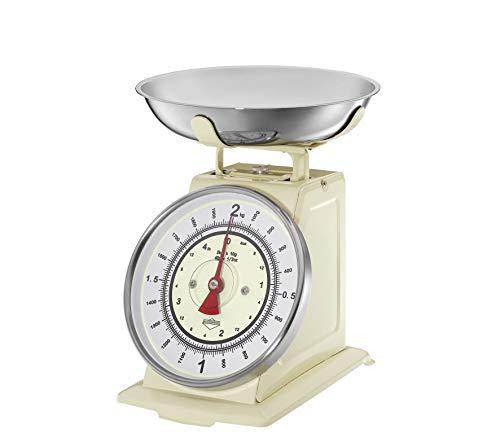 Küchenprofi Waage NOSTALGIE Creme Bilancia da Cucina, Acciaio Inox, Crema, 22 x 22 x 25.5 cm, 6 unità