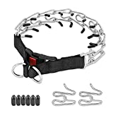 BABYLTRL Prong Collar for Dogs, Adjustable Dog Choke Pinch Training Collar with Comfort Rubber Tips and Quick Release Snap for Small Medium Large Dogs (Silver, L)