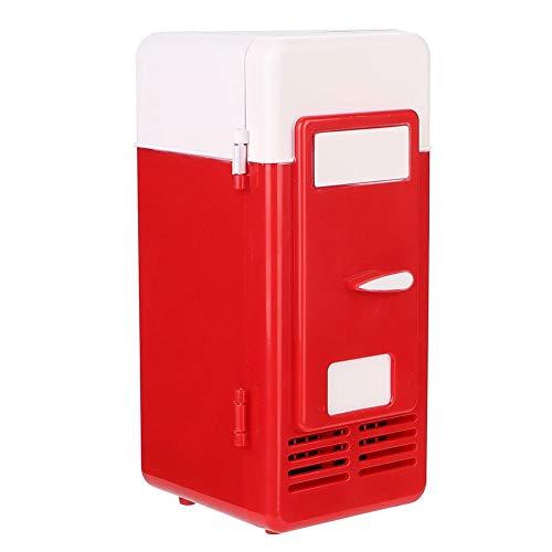 Pokerty Refrigerador USB, 10 W 83 * 88 * 195 mm Mini USB Oficina Mini calefacción y refrigeración Refrigerador portátil de Doble Uso Bebidas Latas Refrigerador Calentador(Rojo)