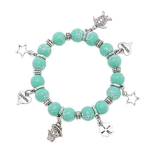 Brass turquesa pulsera ajustable de piedra de color blanco perlas colgante Tortuga gato corazón