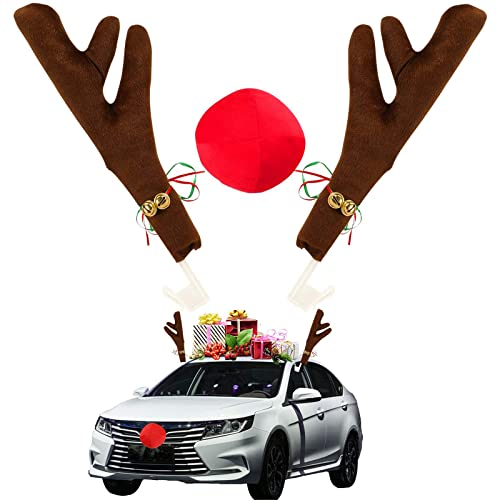 RHJKOK Reindeer Car Kit ? Rudolph Car Kit Includes Reindeer Antlers & Red Nose ? Christmas Car Decorations for The Holidays ? Decorate Any Vehicle