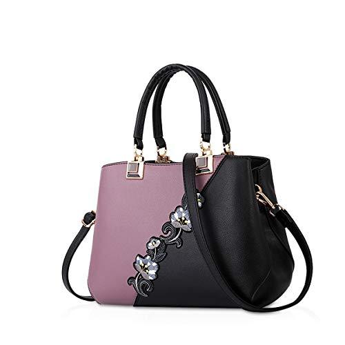 NICOLE & DORIS 2021 Mode Handtaschen für Frauen Umhängetasche Damen Tragetaschen Shopper Elegant Schultertasche PU Leder Tasche Lila