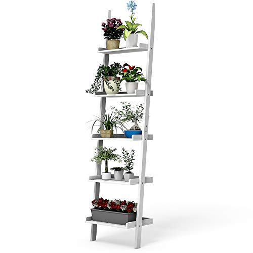 COSTWAY Estante de Escalera con 5 Capas Madera Estante de Pared para Planta Flores Librería (Blanco)