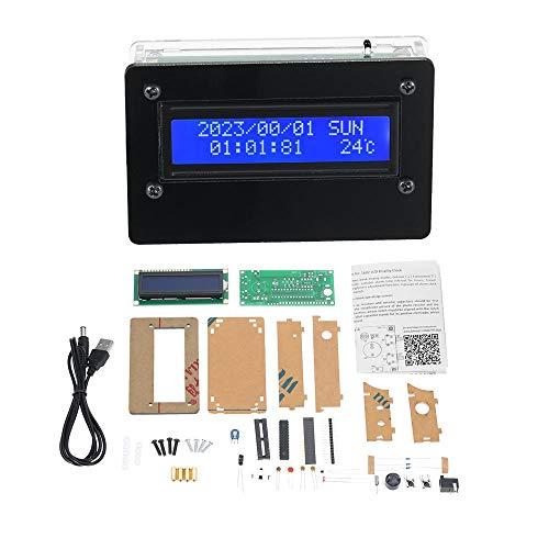 KASILU Dlb0109 DIY 1602 LCD Kit de Reloj Despertador de 3 Canales Tiempo Temperatura Fecha de la Semana Pantalla Digital Clock Kit Alto Rendimiento