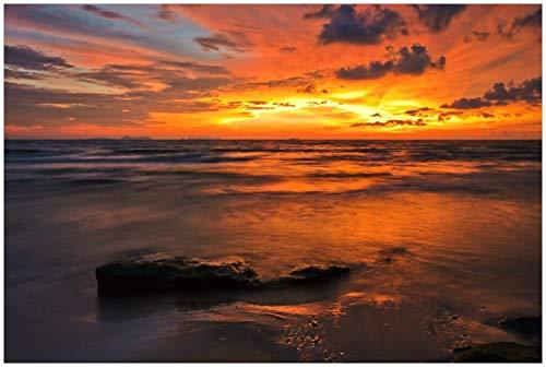 Wallario Glasbild Sonnenuntergang über dem Meer - 60 x 90 cm in Premium-Qualität: Brillante Farben, freischwebende Optik