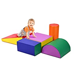 Help Kids Grow Up: The fun foam play set consists of five differently shaped blocks that allow children to freely combine to stimulate their imagination and creativity. Also, kids can develop their hand-eye coordination and motor skills while playing...
