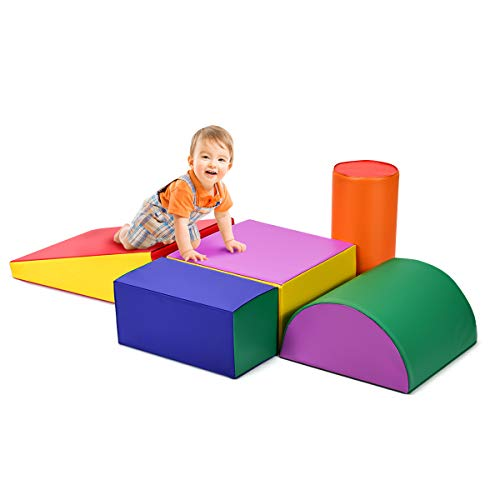 Costzon Crawl and Climb Foam Play Set, Colorful Fun Foam Play Set, 5 Piece Lightweight Interactive Set, Children's Software Composite Toy for Toddlers, Preschoolers, Baby and Kids (Multicolor)