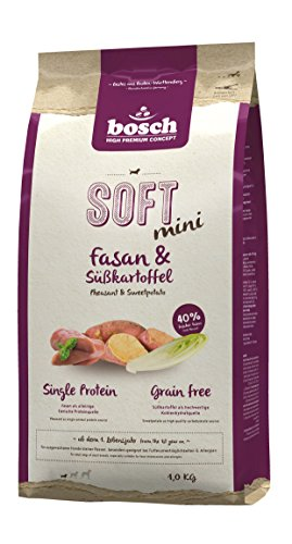 BOSCH Hunde Trockenfutter GETREIDEFREI SOFT Mini Fasan + Süßkartoffel 5 x 1,0 kg Angebot da MHD 03.2020