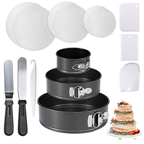 """Non-stick Springform Pans Set - Stainless Steel Cheesecake Pan and 150-piece Parchment Paper Liners - 4"""" 7"""" 9"""" Non-stick Round Bakeware Cake Pan 2 Icing Spatula 3 Icing Smoother"""