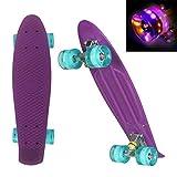 WeSkate 22' Kinder Retro Skateboard mit Buntem Cruiser Board LED-Blitz mit ABEC-7 Kugellager für Kinder, Jungs, Mädchen