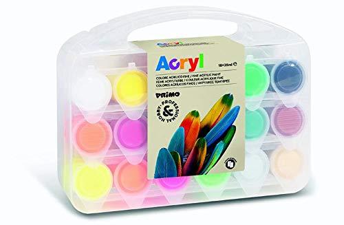 Primo Acrylfarben Set für Kinder inkl. Leinwände | Kunst-Koffer mit 18 Farben in 25 ml Acrylfarben-Bechern
