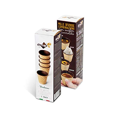 5 Chocup, Mini Bicchiere Tazzina Cialda al Cioccolato per Caffe, Cioccolata - 30ml
