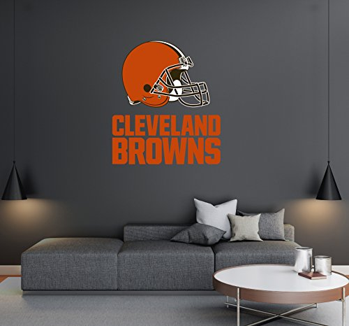 """Cleveland Browns - Football Team Logo - Wall Decal Removable & Reusable For Home Bedroom (Wide 20""""x23"""" Height)"""