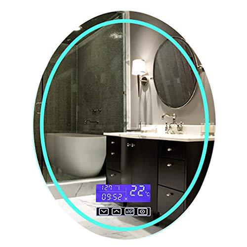 Flashing 32 x 24 inch ovaal LED-achteruitkijkspiegel voor de badkamerspiegel met anti-kras tegen zwarte rand touch-schaaltjes temperatuur