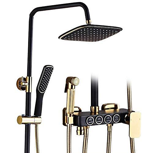 Coolshopy Termostático Sistema de baño ducha de lluvia, Techo Negro mate grifo de la ducha con la cabeza de la Plaza de la ducha de lluvia y de mano, Negro Mate ducha Conjunto de Conjunto for baño bañ