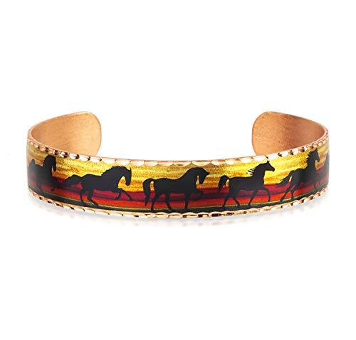 Pulseras de caballo negro para mujeres, hombres y niñas, puños estrechos, joyería de cobre hecha a mano, ajustable para la mayoría de las muñecas