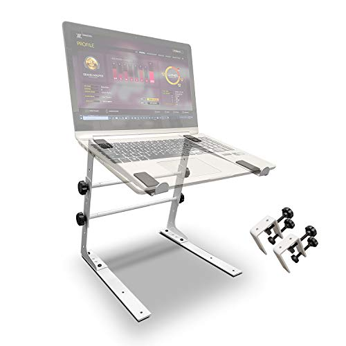 AxcessAbles LTS-02 Laptop Stand with Adjustable Height/Width and Optional Table Clamps for DJ Laptop/DJ Controller/Compact Mixer (White)