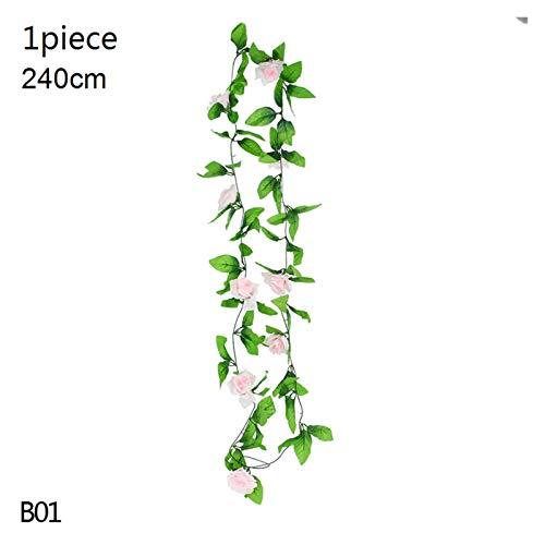 KEHUITONG PSWK Wisteria Artificial Flower Vine Ivy Leaf Garland Silk Rose Flowers Rattan String Vine Wedding Arch Flower Home Garden Decoration (Color : B01 1pcs light pink)