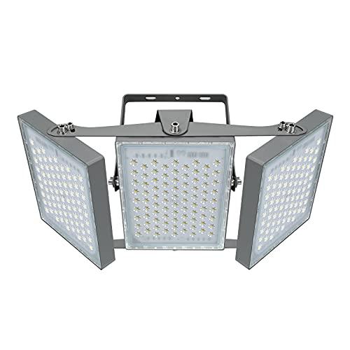 450W LED-Sicherheitslicht, 40500LM Superhell LED Fluter Flutlicht Außenstrahler, IP65 Wasserfest, 5000K Tageslicht, 3 Flutlicht mit verstellbarem Kopf unter, für Garage, Scheune, Patio, Hof.
