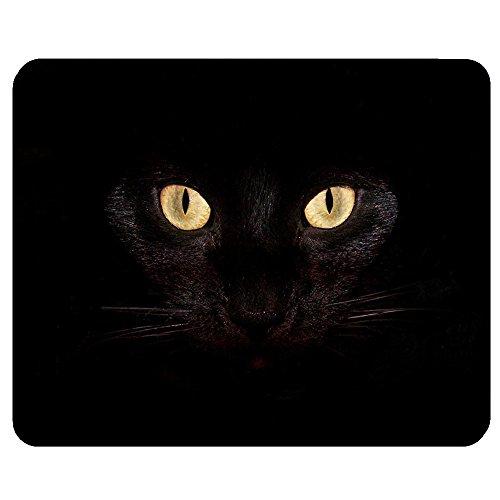 Personalized Unique Design Oblong Shaped Mouse Pad Black Cat Face MP8452