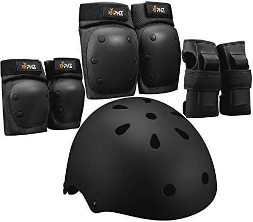 PHZ Kids Youth Bike Helmet Toddler Helmet Adjustable for Boys Girls Knee Pads Elbow Pads Wrist product image