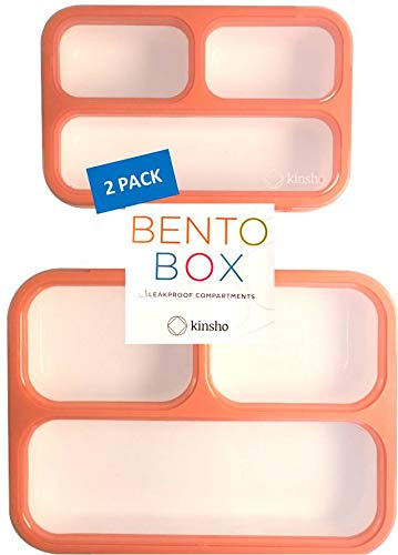Bento-Box Lunch-Box + Snack Container Set for Women, Girls | Portion Control Containers, Lunch and Snack Boxes for Work or School | Best for Big Kids Teens, Adults | Orange Coral Large + MINI 2 Pack