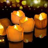Velas de LED 12 Pcs, FOCHEA Velas Eléctricas Sin Llama con Mando a Distancia para Bodas Decoración, Navidad, San Valentín, Cumpleaños, Fiestas (Amarillo)