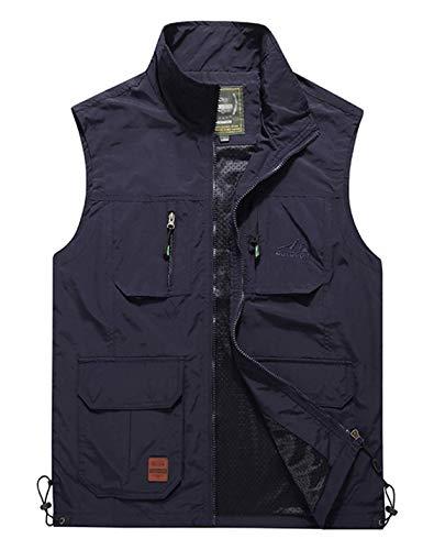 Jenkoon Mens Lightweight Multi-Pockets Mesh Travels Fishing Vest Outdoor Stand Collar Vest (Navy, X-Small)