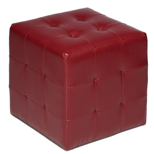 Cortesi Home Braque Tufted Cube Ottoman in Leather Like Vinyl, Red