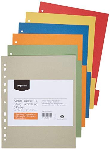 Amazon Basics - Divisori in carta manilla riciclata, perforatura di standard europeo, extra larghi, 6 divisori in 6 colori diversi, 24 x 29,7 cm, A4, 230 g/m2