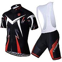 X-TIGER Ciclismo Maillots para Hombres con Tirantes Manga Corta Transpirable Secado Rápido con 5D Acolchado Gel Culotes Culotte Pantalones Cortos (Rojo,XL)