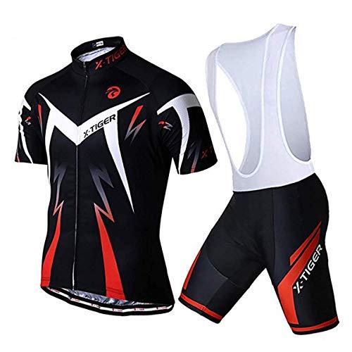 X-TIGER Ciclismo Maillots para Hombres con Tirantes Manga Corta Transpirable Secado Rápido con 5D Acolchado Gel Culotes Culotte Pantalones Cortos (Rojo,L)