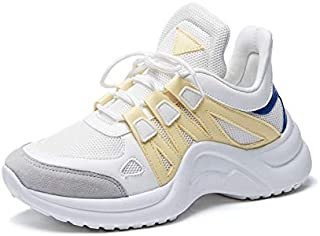 FYXKGLa 2019 New Large Size Breathable Sports Shoes Thick-Soled Running Casual Shoes (Color : Yellow, Size : 38EU)