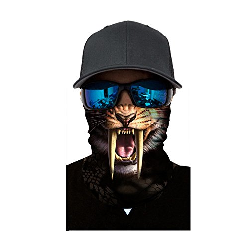 Schlauchschal Gesichtsmaske Multifunktionstuch Motorradmaske 3D Tiere Halstuch Kopftuch Sturmmaske Bandana Schlauchtuch Schutztuch für Motorrad Fahrrad Ski Paintball Karneval Kostüm Face Shield