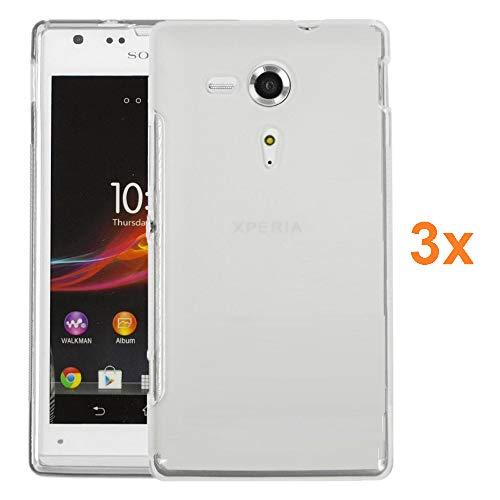 REY Pack 3X Cover in Gel TPU Trasparente per Sony Xperia SP, Ultra Sottile 0,33 mm, Morbido Flessibile, Custodia Silicone