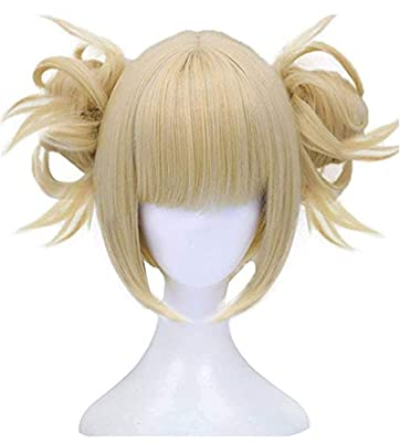 Anogol Hair Cap+Blue Synthetic Hair Cosplay Wig Short Straight Anime Full Wigs For Boy
